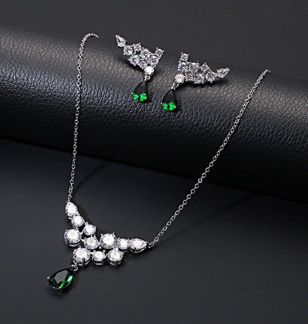 Luxury celebrity drop AAA zirconia earrings necklace jewelry sets