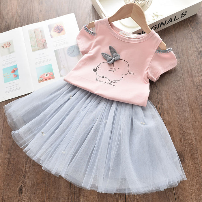 Cute little white cartoon dress AZ1578Pink