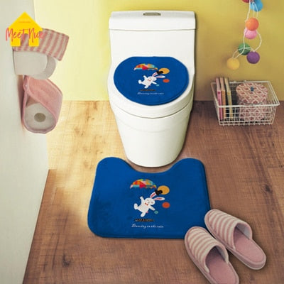 Cartoon wc Cover Bath Mat Toilet Seat Cover