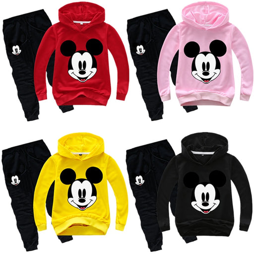 kids Boy girls Mickey Spring Hoodie Shirt+Pants sets