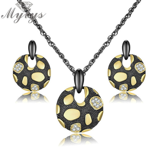 Round Pendant Necklace Drop Earrings Jewelry Sets