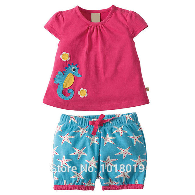 Baby Girls cotton Short Sleeve Clothing Sets