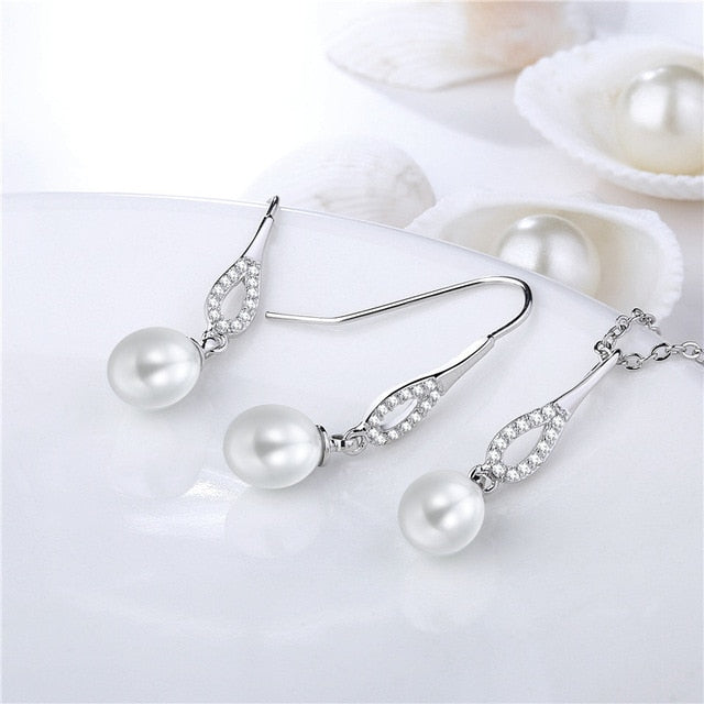 Pearl Beads Jewelry Necklace Earring 2PCS Set