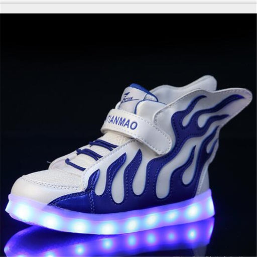 LED Charging Light Shoes Boys Girls Mesh Sports Shoes Blue