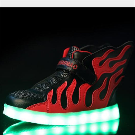 LED Charging Light Shoes Boys Girls Mesh Sports Shoes Red