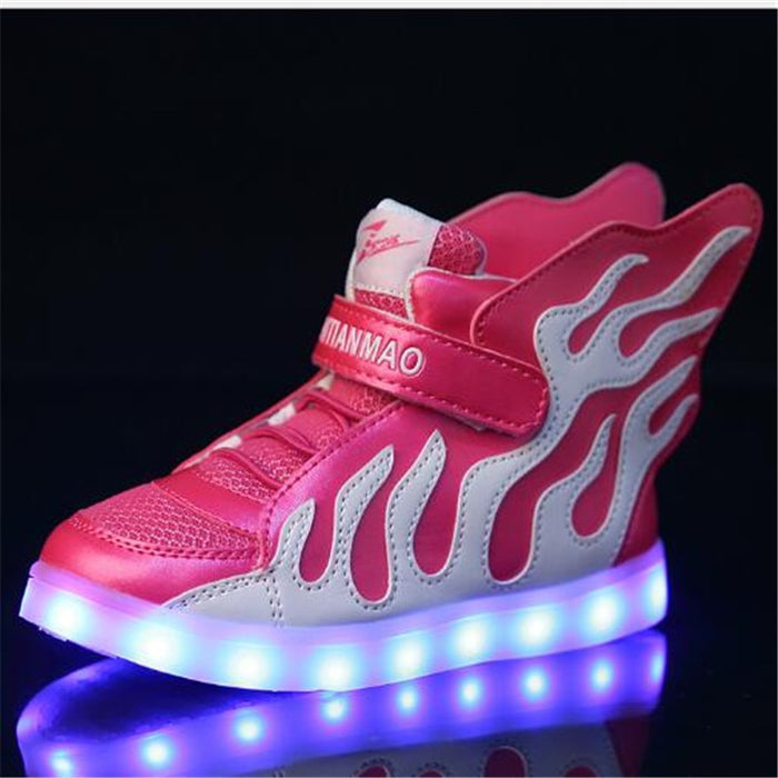 LED Charging Light Shoes Boys Girls Mesh Sports Shoes Rose Red
