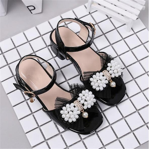 Girls Leather Pearl Bowtie Sandals