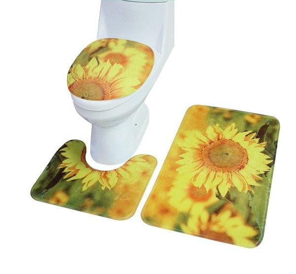 Flower Cut Ocean Scenic Mats Toilet seat Cover Set