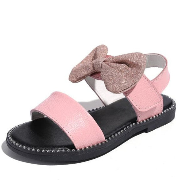 Girls Genuine Leather Bowtie Sandals