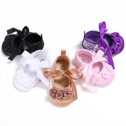 Baby Girls Silk Ribbon Flowers Soft Anti-slip Shoes