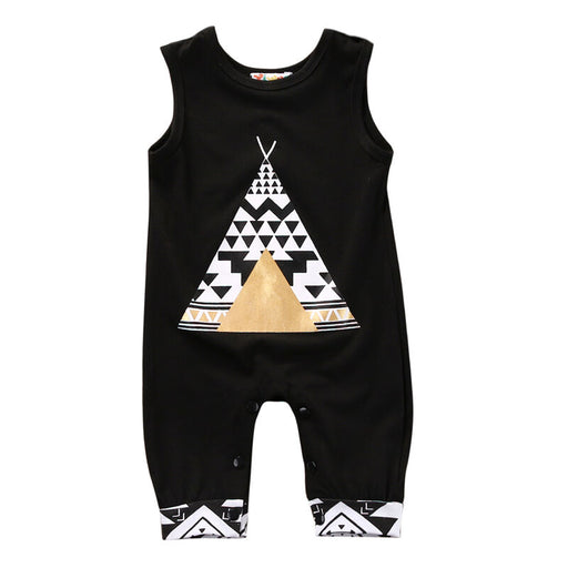 Novelty Unisex Newborn Baby Boy Girl Cartoon Sleeveless Romper Body Suit Jumpsuit Cute Fox Tent Clothes Outfits Black
