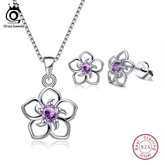 Hollowed Flower Design With Purple AAA CZ Necklace Earrings Jewelry Sets