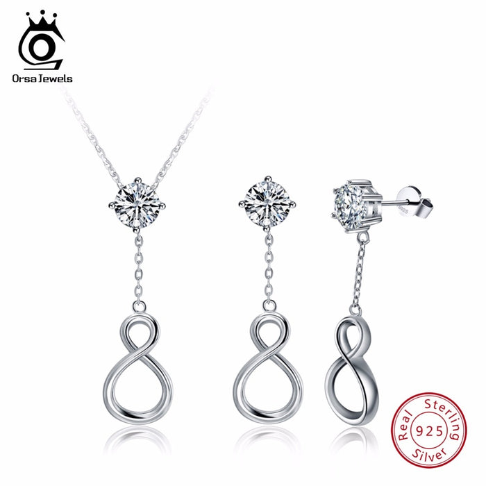 Sterling Silver Necklace&Earrings Infinite Shape Fashion Jewelry Sets