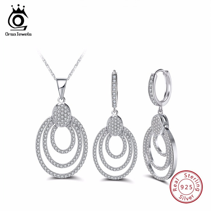 Sterling Silver Bohemia Style  Necklace&Earrings Sets