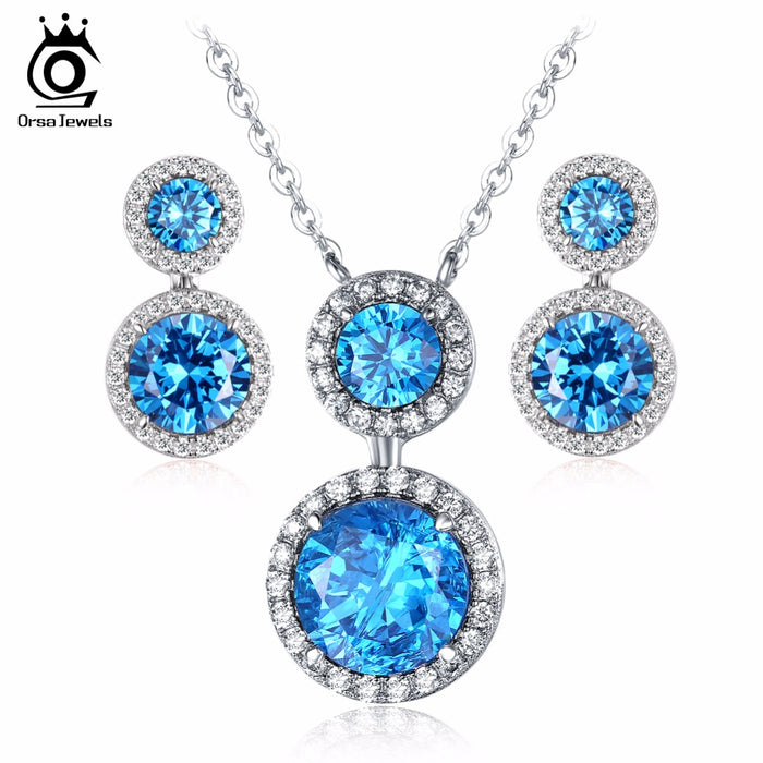 Ocean Blue Shiny Earrings Pendant Necklace Jewelry Sets