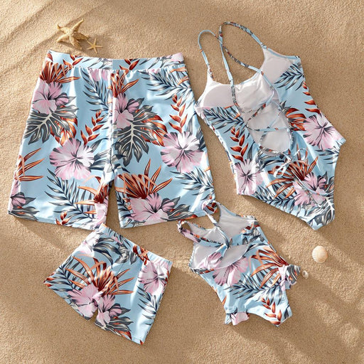 kids Floral Print Family Matching Light Blue Swimsuits