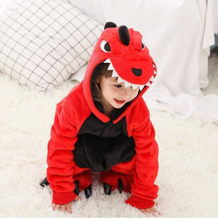 Pink and Red Dinosaur  Cosplay Costume  Pajamas Set