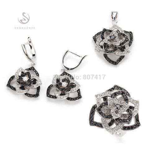 Black and White silver Plated heart jewelry sets