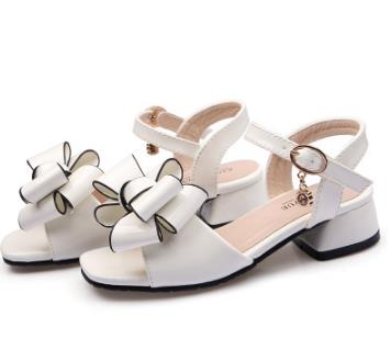 Fashion Girls Sandals Buckle Strap Shoes WHITE