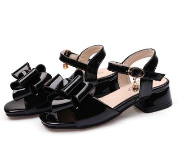 Fashion Girls Sandals Buckle Strap Shoes Black