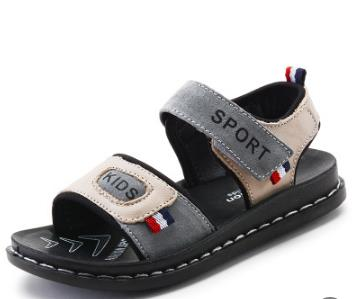 Genuine Leather Beach Sandals for Boys Grey
