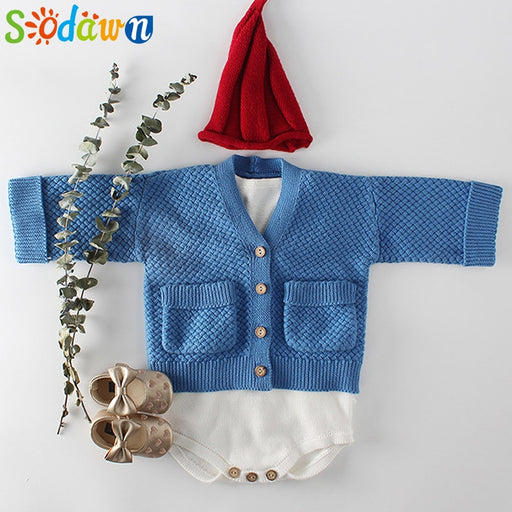 kids Boys Girls Sweater Sling Romper+Coat Cardigan Suits