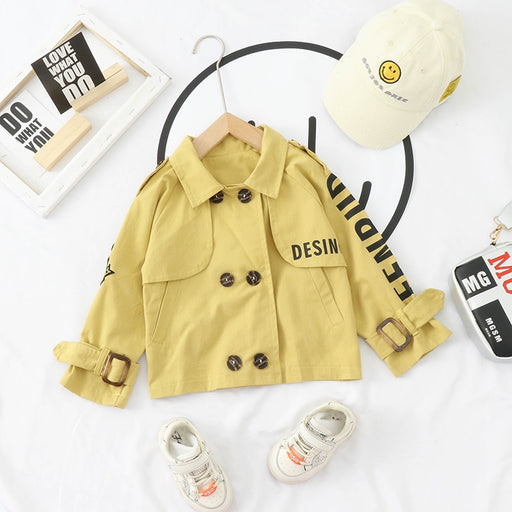 Kids boys girls Spring Casual Double-breasted Trench Coat