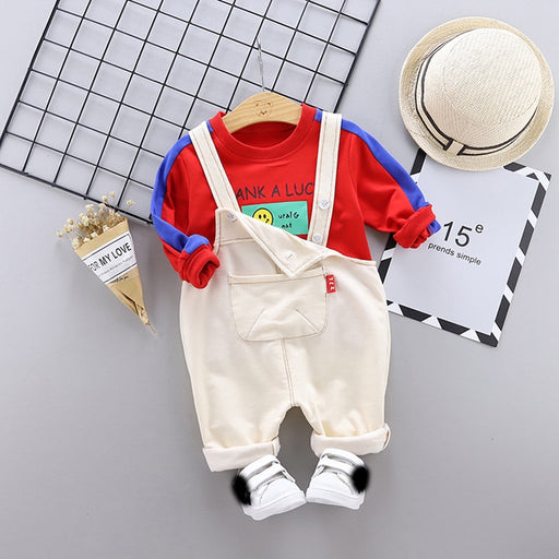 baby girls boy sports pullover sweater + bib pant sets