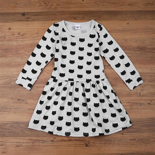 Girl cotton long sleeve casual dress