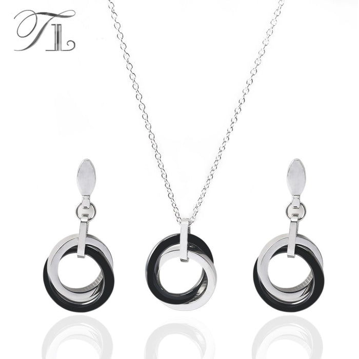 Silver Ceramic Black&White Double Circle Jewelry Set