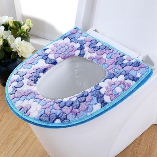 Zipper style Thick Coral Velvet Toilet Seat Cover