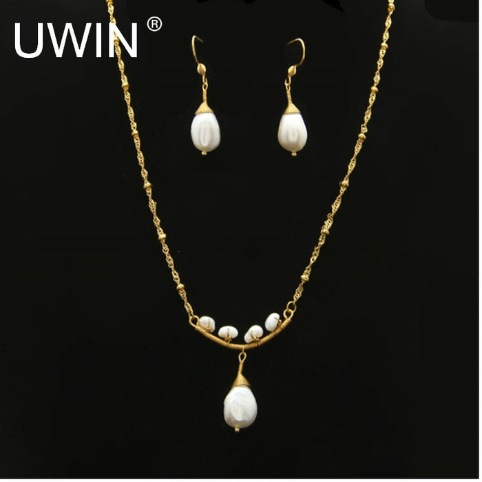 Fashion Pearl Pendant Necklace Drop Earring Jewelry Set