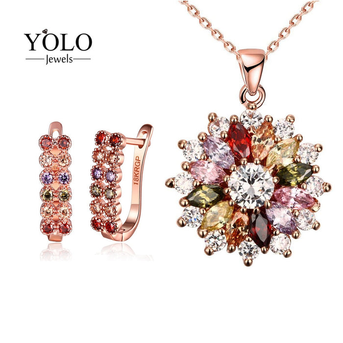 Rose Gold Color Flower Design Cubic Zirconia Necklace Stud Earrings Jewelry Set