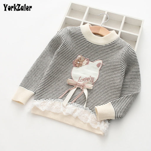 Girl Stripe Cartoon Long Sleeve Sweater