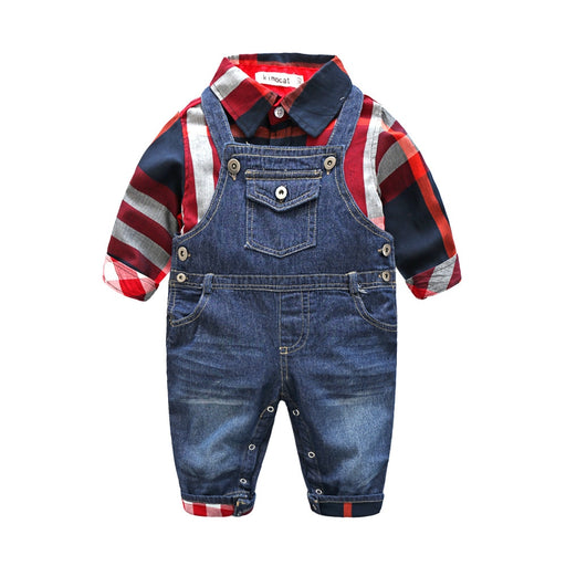 boys plaid shirt jumpsuit +jeans  set