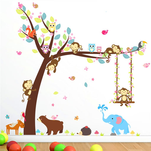 cartoon forest animals swing tree wall sticker for kids