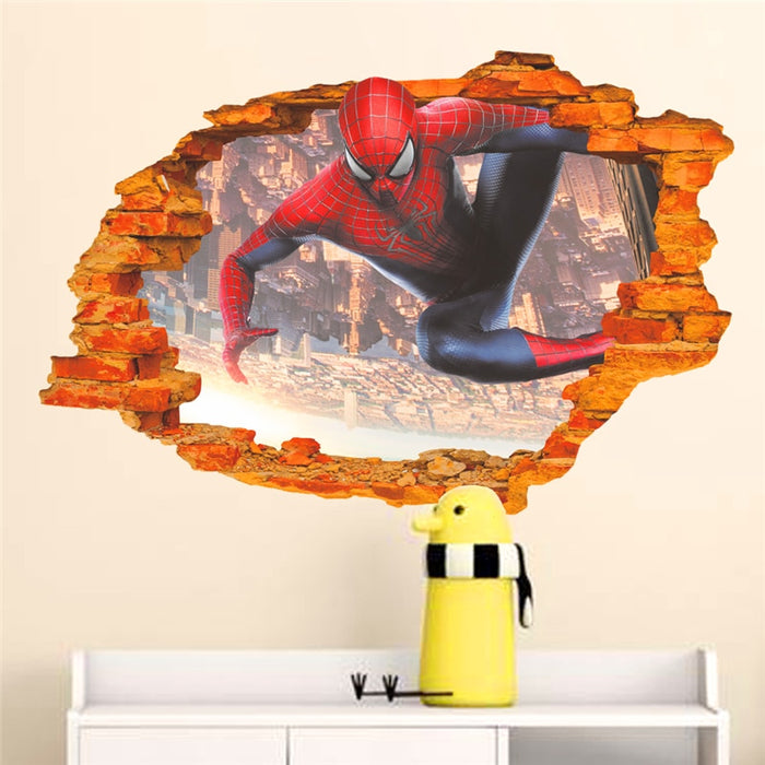 cartoon hero spiderman through wall stickers for kids room wall art decorations 3d broken wall posters diy pvc decals boy's gift