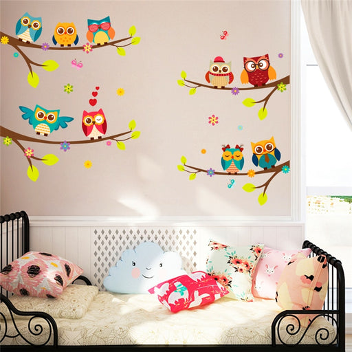 cartoon owl branch wall stickers for kids