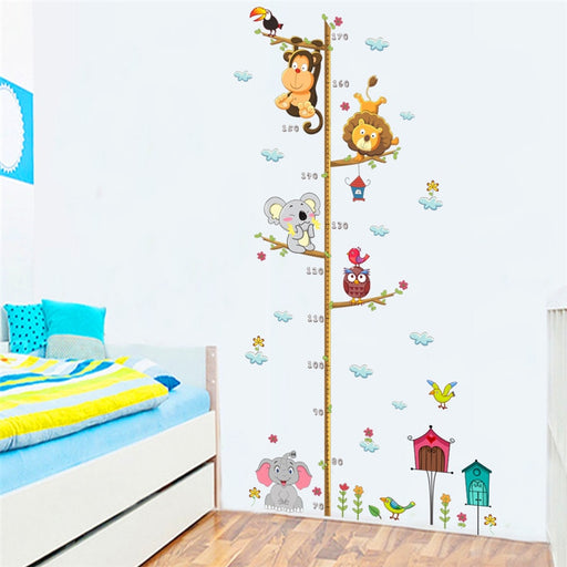 owl lion monkey height measure wall stickers for kids