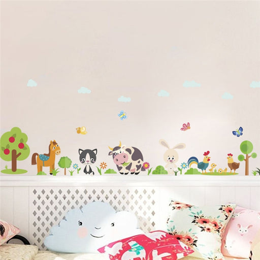 forest horse rabbit tree cow butterfly wall stickers for kids