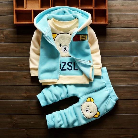 kids boys winter thicken warm tracksuit clothing sets