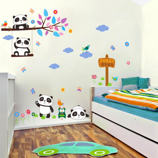 lovely forest panda birds tree branch wall stickers