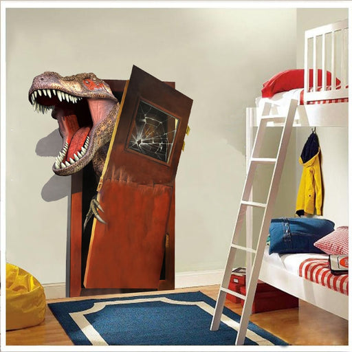 cartoon 3d dinosaur pvc broken wall stickers for kids