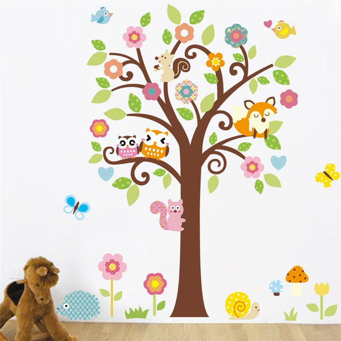 . owls tree wall stickers kids flowers plant poster