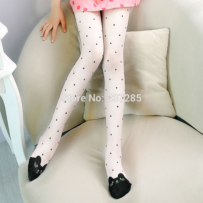 Cute little cat  pattern pantyhose children stockings for baby girls