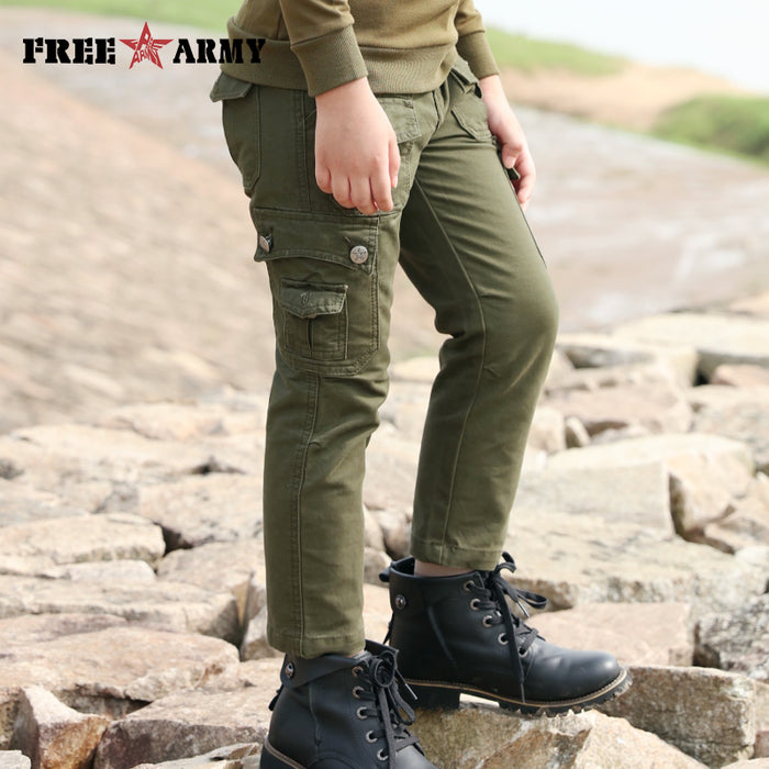 Brand Autumn Boys Pants Army Green Winter Cargo Joggers Boys Clothing