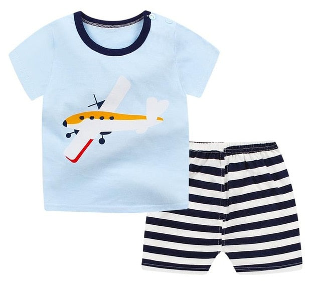 kids casual boy Summer clothing top+shorts sets