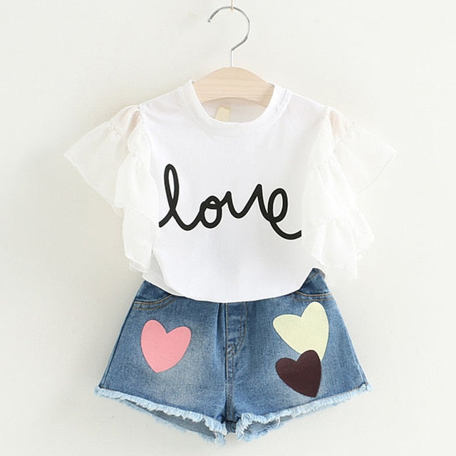 Girls Short sleeve T-shirt+Love Print Pants Sets
