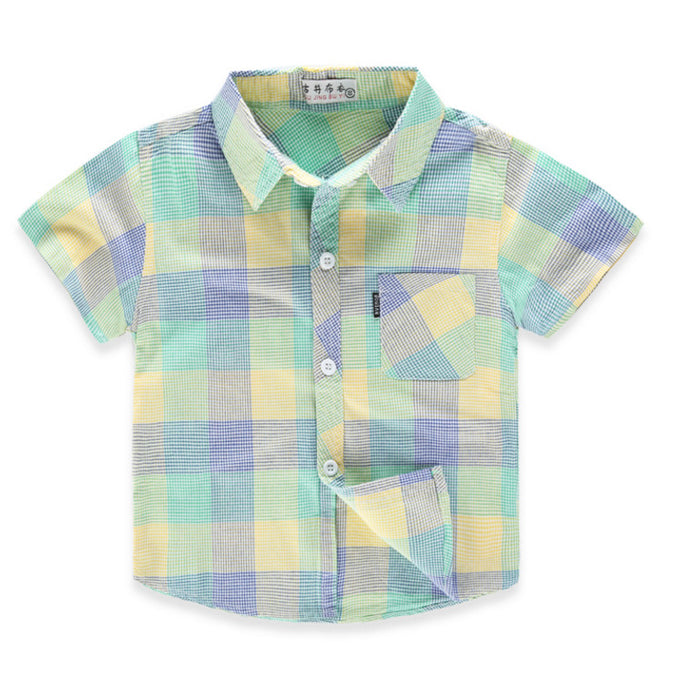 Fashion Plaid Striped Casual Kids Shirts