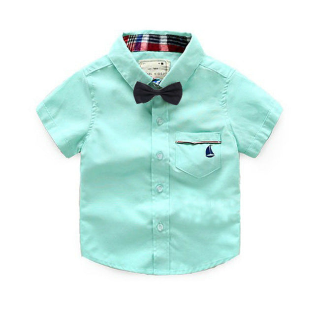 Casual Short Sleeve Turn-down Collar With Tie